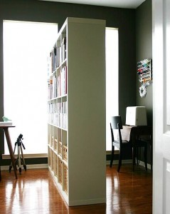 Home office bookcase room divider