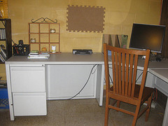home office with kitchen chair