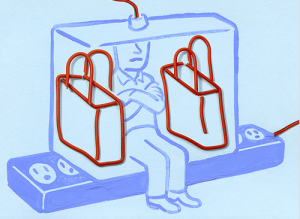 cartoon of man sitting on giant electrical power strip with a bag on either side blocking adjacent outlets