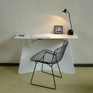 minimalist office - desk, chair, lamp