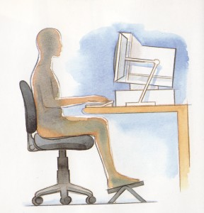illustration of proper chair, keyborad and monitore alignment for ergonomics
