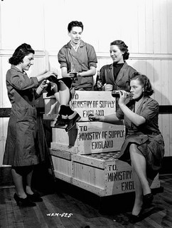 WWII posed photo 4 women taking a work break