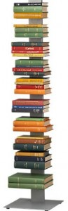 Metal book display with books held horizontally