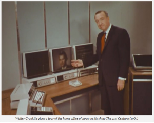 Walter Cronkite demonstrates the computer of the future circa 1967.