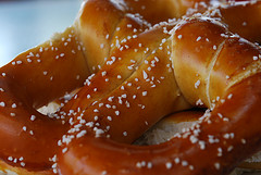 close-up photo of large salted pretzel