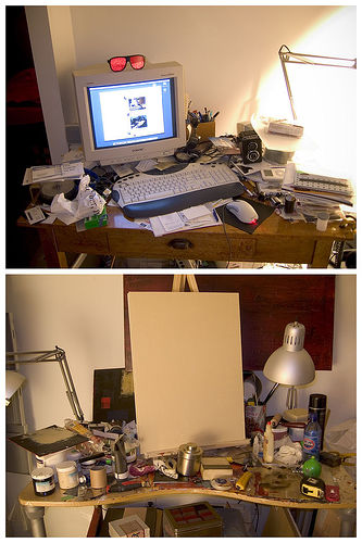 two photos of two messy desks