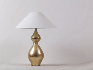 gourd shaped gold based table lamp