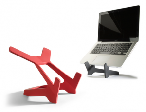 image of modern style book stand, laptop stand in red or black