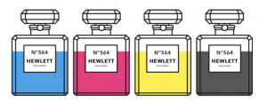 Printer ink package in parody Chanel 5 bottles
