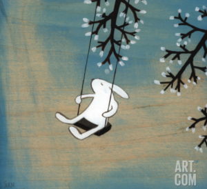 illustration of a white rabbit on a tree swing