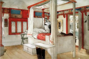 Carl Larsson bedroom with book shelves above the window and doorway